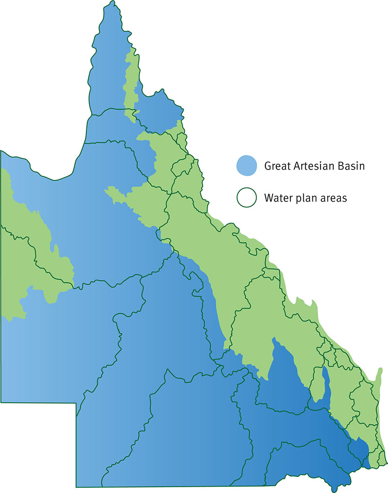 Map of water plan areas and Great Artesian Basin in Queensland