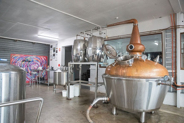 Metal distilling equipment in a factory